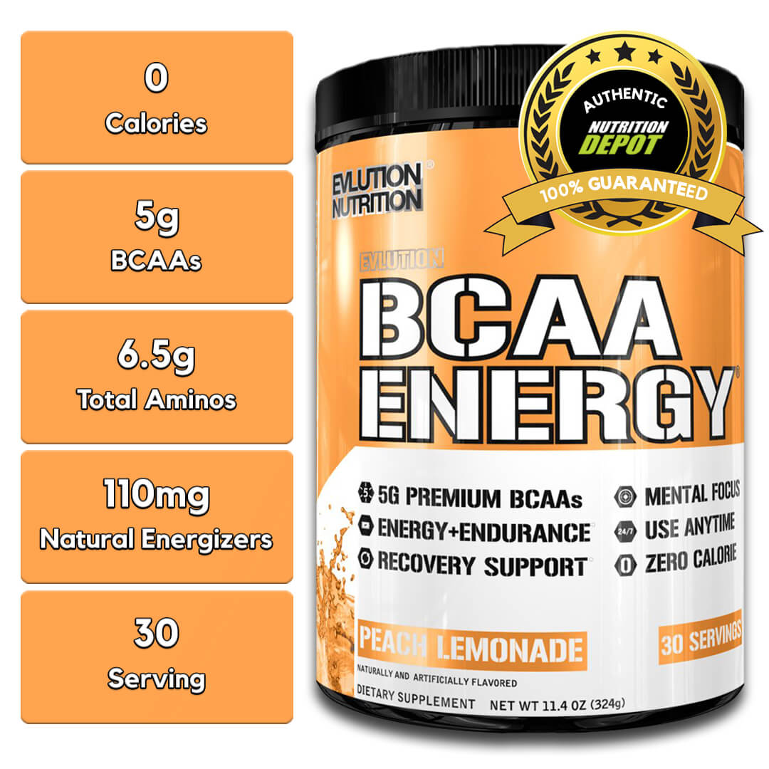 EVL BCAA ENERGY, PEACH MANGO, 30 SERVINGS nutritional information