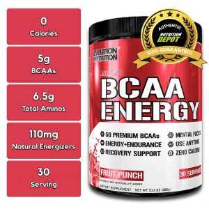 EVL BCAA ENERGY, FRUIT PUNCH, 30 SERVINGS nutritional information