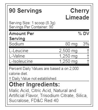 EVL BCAA 5000, CHERRY LIMEADE, 90 SERVINGS, NUTRITION INFO