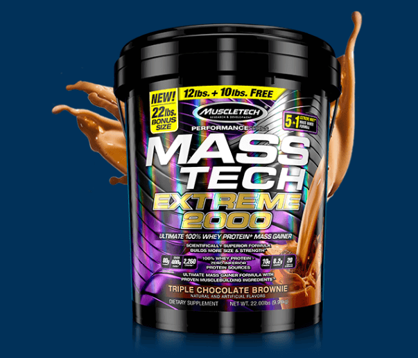 MUSCLETECH MASS TECH EXTREME 2000, TRIPLE CHOCOLATE BROWNIE, 7 LBS 2