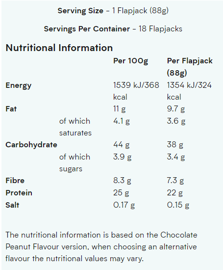 MYPROTEIN OATS & WHEY PROTEIN BAR, CHOCOLATE CHIP NUTRITION INFO