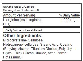 MUSCLETECH PLATINUM 100% L-ARGININE, 100 CT NUTRITION INFO