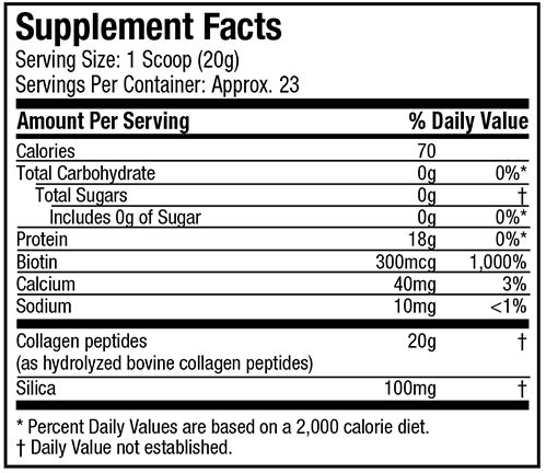 PURELY INSPIRED COLLAGEN PEPTIDES NUTRITION INFO