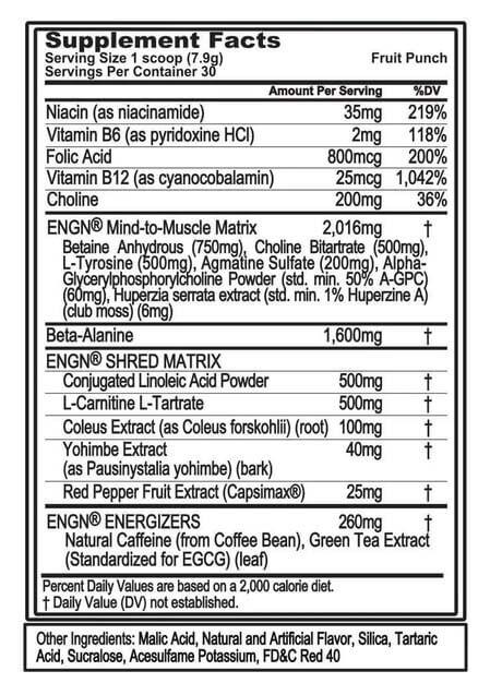 EVL ENGN SHRED, FRUIT PUNCH, 30 SERVING - NUTRITION INFO