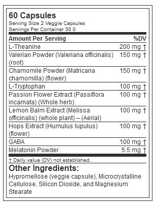 EVL SLEEPMODE, 60 SERVING NUTRITION INFO