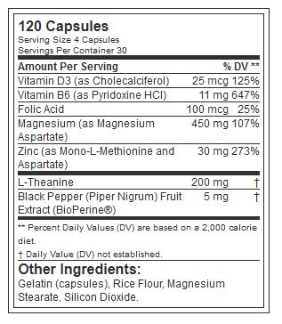 EVL Z-MATRIX, 30 SERVING NUTRITION INFO