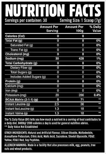 WHEY LABS BCAA + ELECTROLYTES, LYCHEE, 30 SERVING NUTRITION INFO