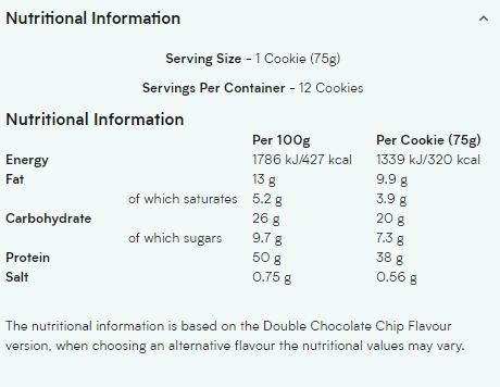 MYPROTEIN COOKIES & CREAM NUTRITION INFO