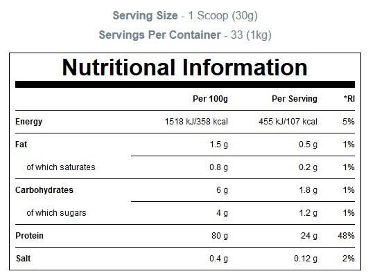 MYPROTEIN SLOW RELEASE CASEIN, CHOCOLATE, 1 KG - - NUTRITION INFO