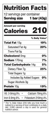 QUEST SNACK BAR, CHOCOLATE MIXED NUTS - NUTRITION INFO