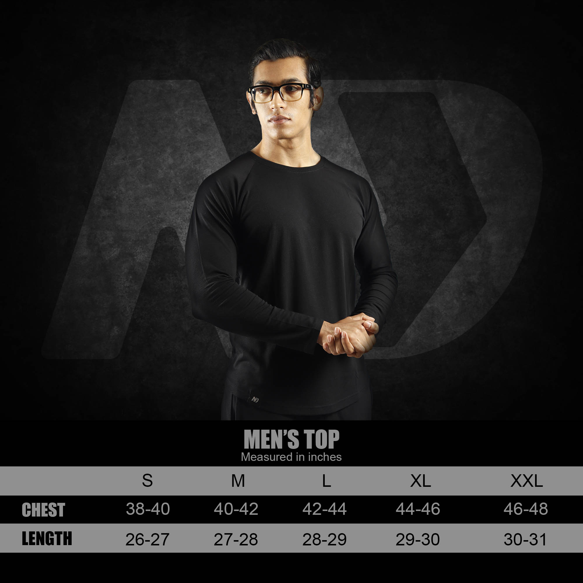 ND RAW ESSENTIAL LONG SLEEVE - SIZE CHART