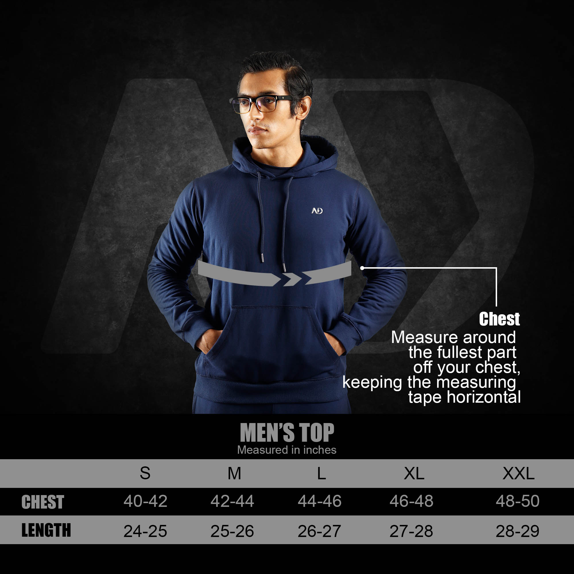 ND WINTER ESSENTIAL HOODIE - SIZE CHART TOPS