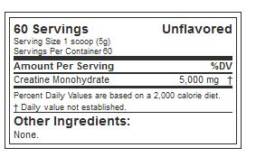 EVL CREATINE 5000, UNFLAVORED, 60 SERVING NUTRITION INFO