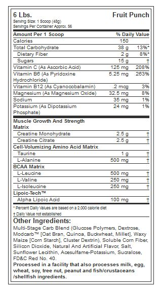MUSCLETECH CELL TECH CREATINE, FRUIT PUNCH, 6LBS NUTRITION INFO