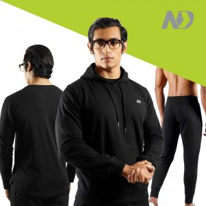 ND RAW ESSENTIAL HOODIE + JOGGERS + LONG SLEEVE - BLACK 01