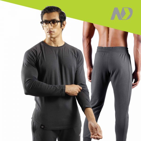ND RAW ESSENTIAL JOGGERS + LONG SLEEVE - GRAPHITE 01