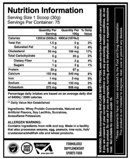 WHEY LABS, 100% WHEY PROTEIN, COCONUT ESPRESSO, 5 LBS, NUTRITION INFO