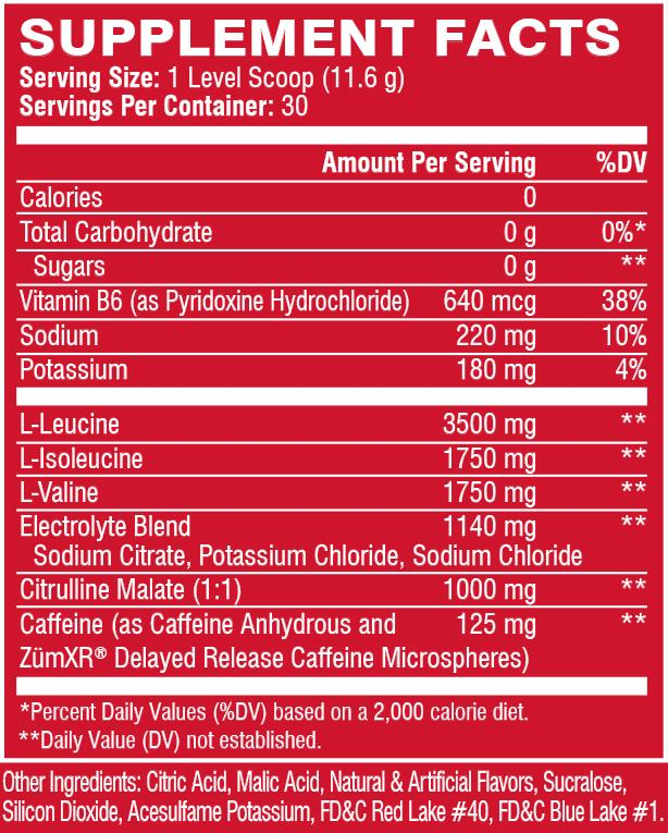 XTEND ENERGY, KNOCKOUT FRUIT PUNCH, 30 SERVING NUTRITION INFO