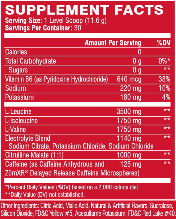 XTEND ENERGY, MANGO MADNESS, 30 SERVING, NUTRITION INFO