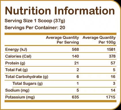 YUM NATURAL ALMOND PROTEIN, VANILLA LATTE, 1.6 LBS NUTRITION INFO