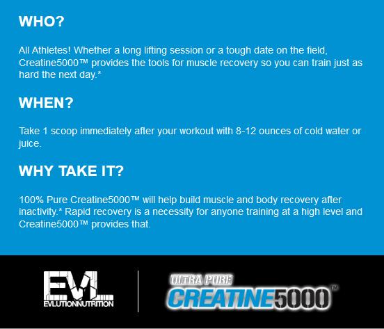 EVL CREATINE 5000, UNFLAVORED, 60 SERVING 12