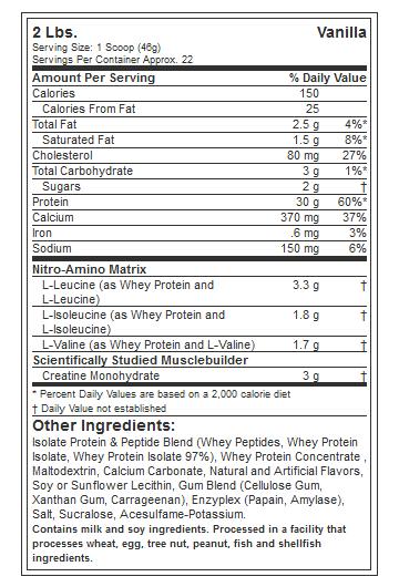 MUSCLETECH NITROTECH PROTEIN, VANILLA, 2.2 LBS NUTRITION INFO