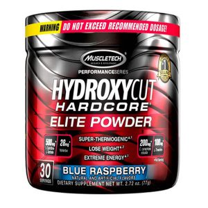 MUSCLETECH HYDROXYCUT ELITE POWDER, BLUE RASPBERRY, 30 SERVING