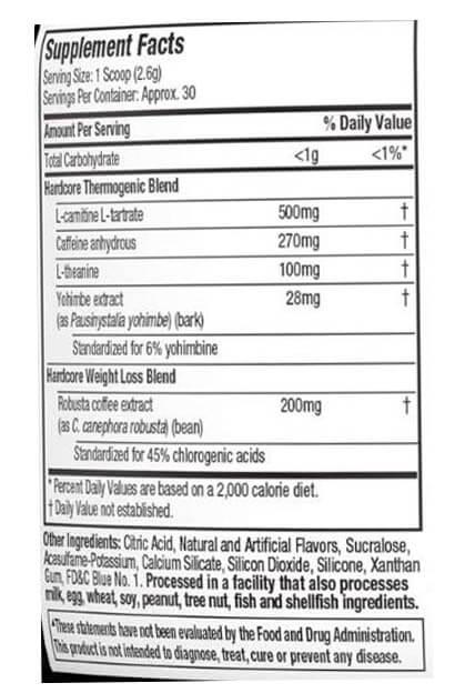 MUSCLETECH HYDROXYCUT ELITE POWDER, BLUE RASPBERRY, 30 SERVING - NUTRITION INFO.