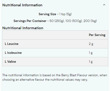 MYPROTEIN BCAA, TROPICAL, 250 GRAMS - NUTRITION INFO