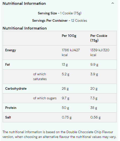 MYPROTEIN COOKIE, DOUBLE CHOCOLATE CHIP Nutritional Information