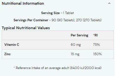 MYPROTEIN ZINC, 90 TABLETS - NUTRITION INFO
