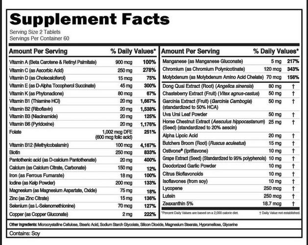 EVL WOMEN'S MULTIVITAMIN, 60 SERVING - NUTRITION INFO