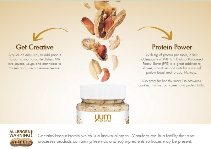 YUM NATURAL, POWDERED PEANUT BUTTER, CHOCOLATE, 1 LB 3