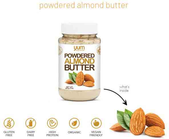 YUM NATURAL, POWDERED ALMOND BUTTER, 1 LB 1