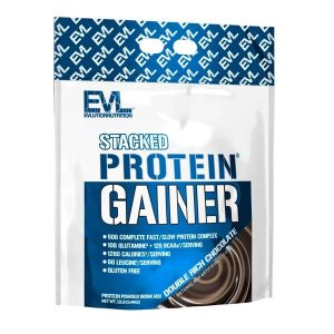 EVL STACKED PROTEIN GAINER, DOUBLE RICH CHOCOLATE, 12 LBS