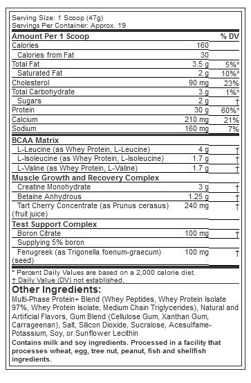 MUSCLETECH NITROTECH POWER, VANILLA, 2 LBS - NUTRITION INFO