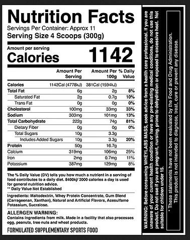 WHEY LABS 100% MASS, CHOCOLATE MELT, 5LBS - NUTRITION INFO