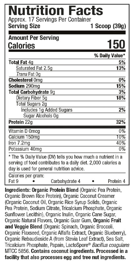PURELY INSPIRED, ORGANIC PROTEIN, CHOCOALTE, 1.5 LBS - NUTRITION INFo